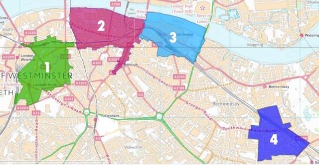 Southwark BIDs Map