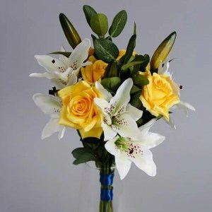 Yellow Artificial Roses silk flowers _2