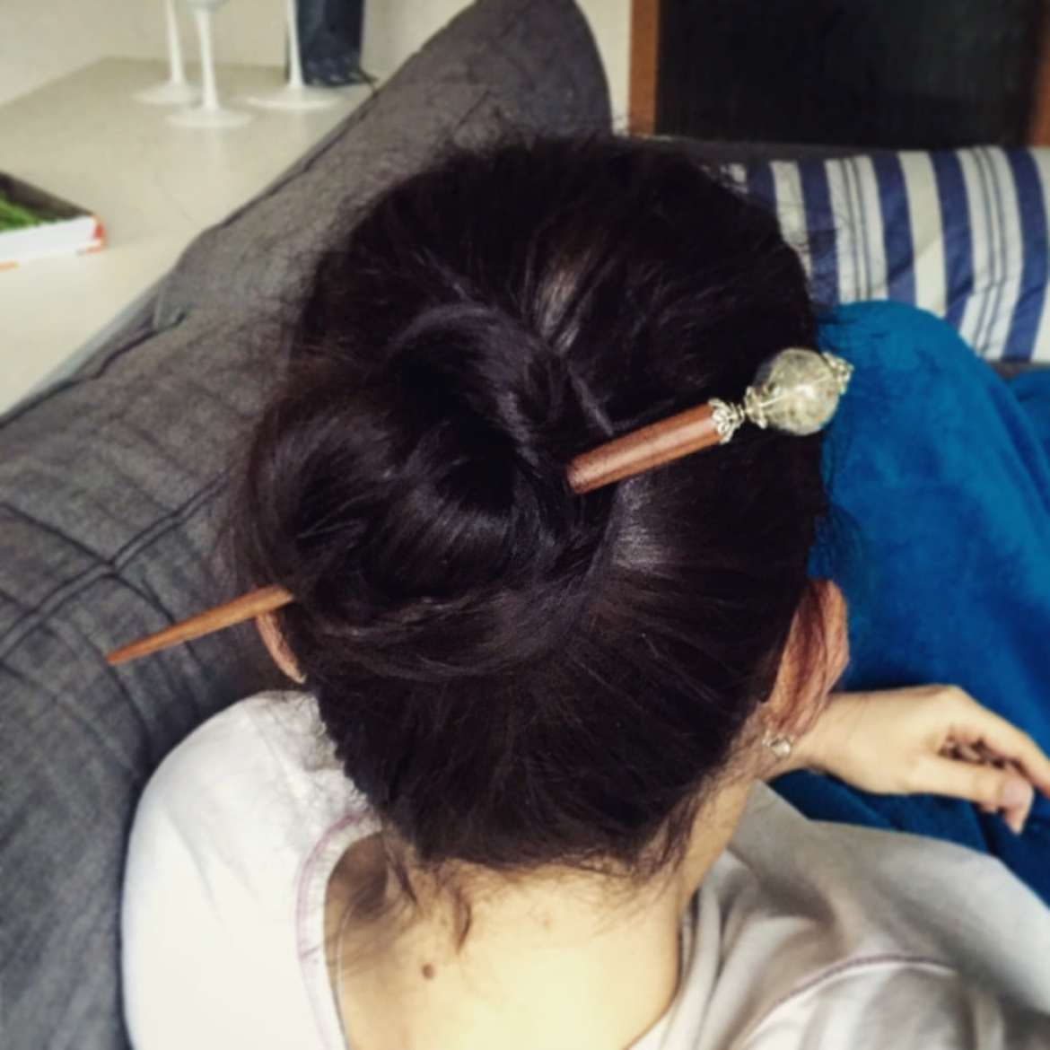 Bun with hairstick