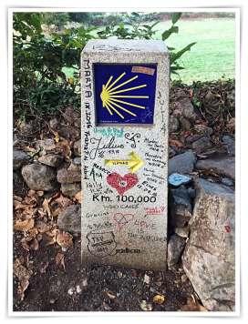 100 km Meilenstein Jakobsweg