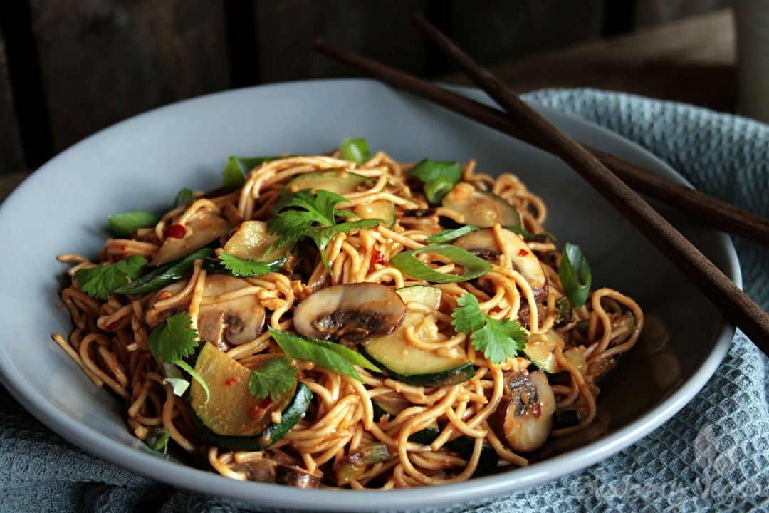 asian peanut noodles with zucchini and mushrooms. Black Bedroom Furniture Sets. Home Design Ideas