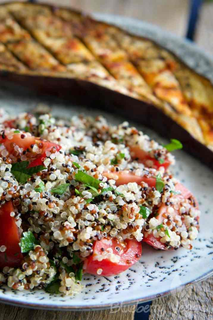 baked eggplant with quinoa tabbouleh vegan