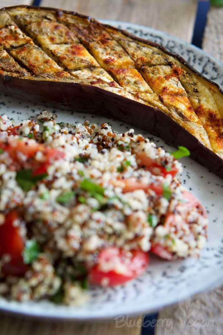 baked eggplant with quinoa tabbouleh