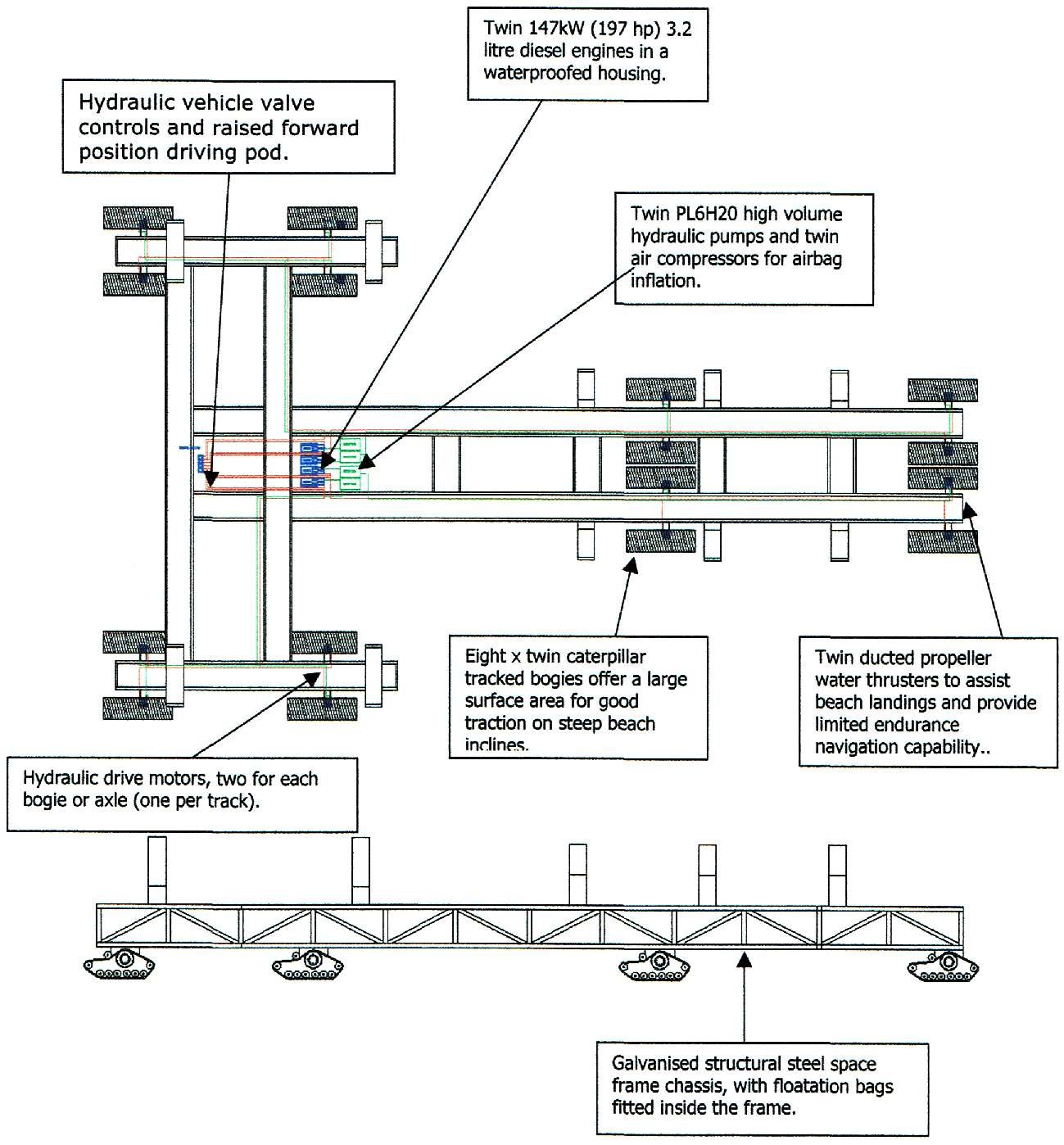hight resolution of diagram of the frame of a powered amphibious launch trailer