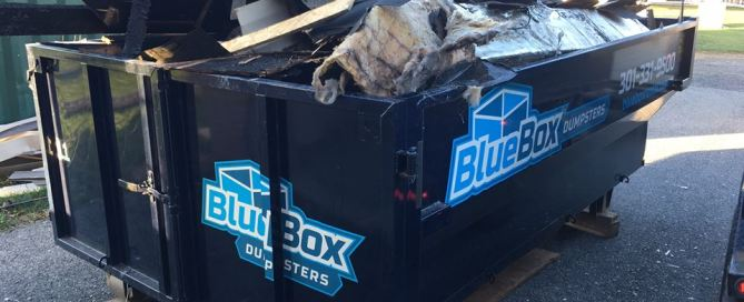 Dumpster for demolition work provided by Blue Box Rental in Clear Spring, MD