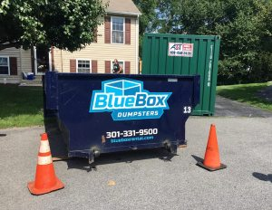 Rental Dumpster next to Hagerstown, MD home