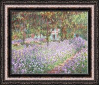 Claude Monet Irises in Monet Garden Framed Canvas Giclee ...