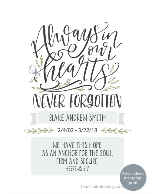 Personalized memorial 8 by 10 print with scripture for the