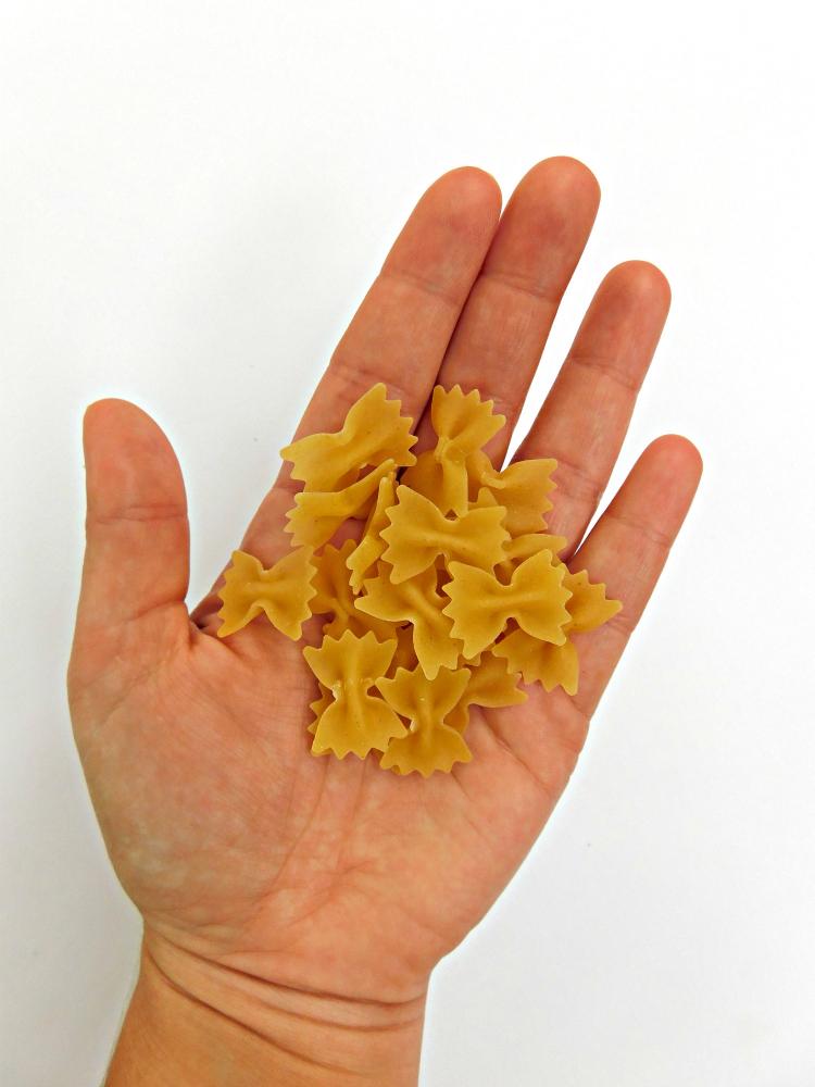 handful of farfalle pasta