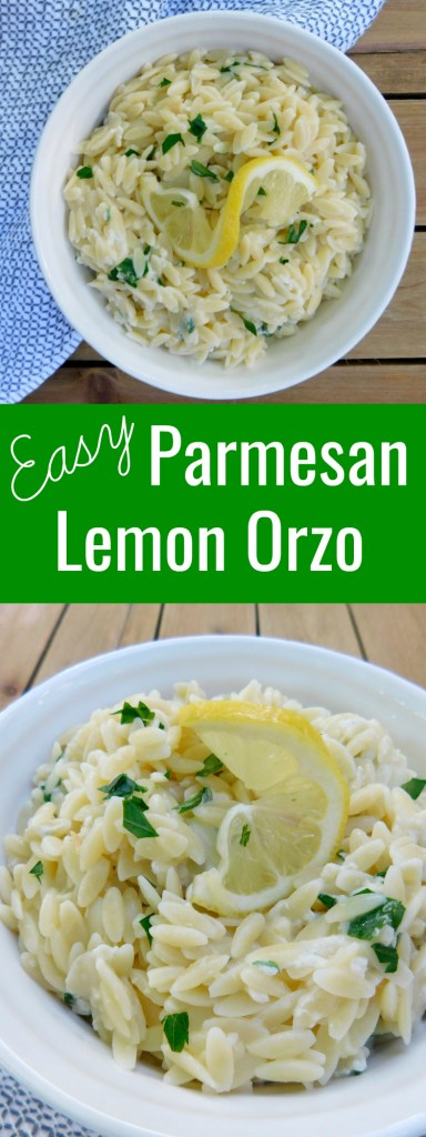 Easy Parmesan Lemon Orzo is the perfect side dish to pair with chicken or seafood! It is an easy dinner staple that is also fresh and delicious!