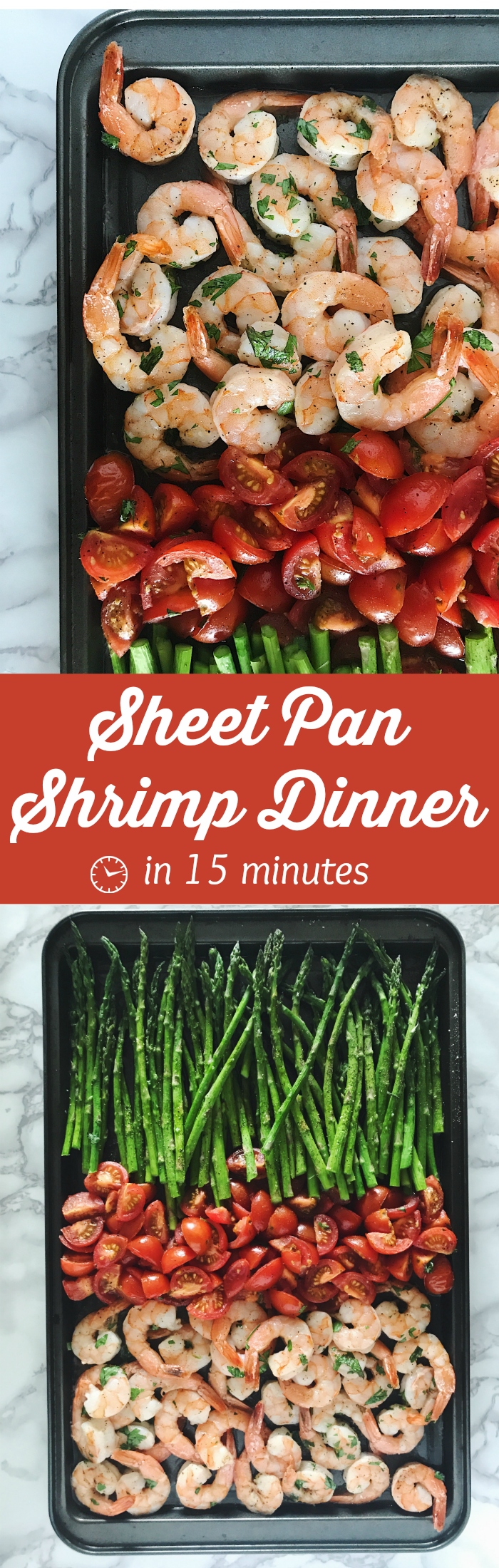 Sheet Pan Shrimp Dinner is a one-sheet wonder that takes just 15 minutes! Shrimp tossed in garlic & fresh parsley will become your favorite weeknight meal.