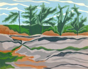 Linoleum Block Relief Print For Sale - Whiteshell Prov. Park, MT