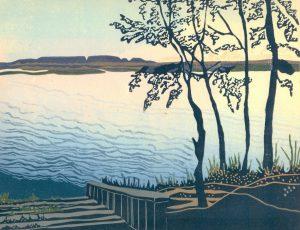 Linoleum Block Relief Print for Sale - Sleeping Giant Prov. Park, ONT