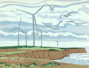 Linoleum Block Relief Print for Sale - Wings of the Wind, Tignish PEI