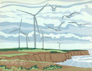 Linoleum Block Relief Print for Sale - Wings of the Wind, Tignish PEI