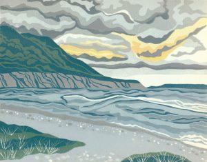 Linoleum Relief Block Print for Sale - Storm Watch at Blow Me Down, Newfoundland