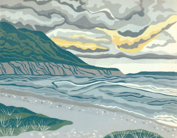 Linoleum Relief Block Print for Sale - Storm Watch at Blow Me Down, Newfoundland