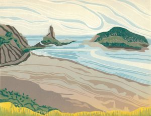 Linoleum Relief Block Print for Sale - Tidescape, Bay of Fundy, NS