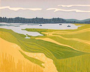 Linoleum Block Relief Print for Sale - Leighton Lake, British Columbia
