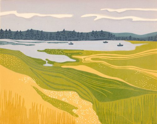 Linoleum Block Relief Print for Sale - Leighton Lake, British Columbia