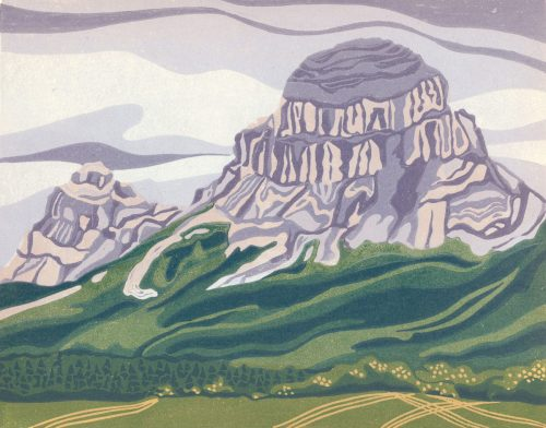Linoleum Block Relief Print for Sale - Crowsnest Mt, Alberta