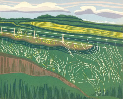Linoleum Block Relief Print for Sale - Southern Alberta rural landscape