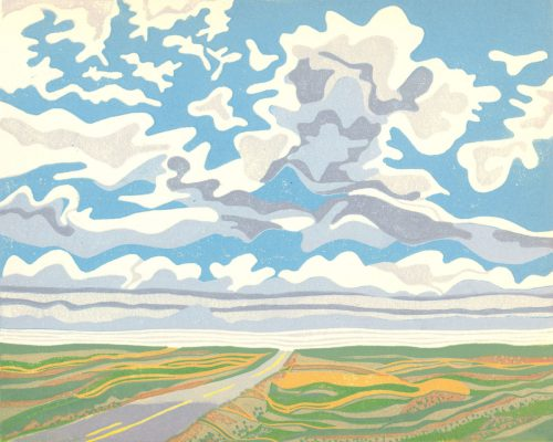 Linoleum Block Relief Print for Sale - Saskatchewan sky and landscape