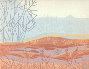 Linoleum Relief Art Print for Sale - Autumn Mists, Kootenays