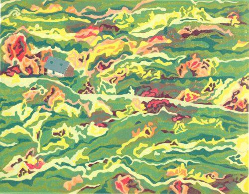 Original Linoleum Relief Art Print for Sale - Colours of New England