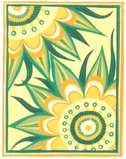 Linoleum Block Relief Print for Sale - Stylized Sunflowers