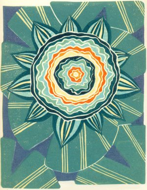 Linoleum Block Relief Print for Sale - Waterlily Mandala floral illustration