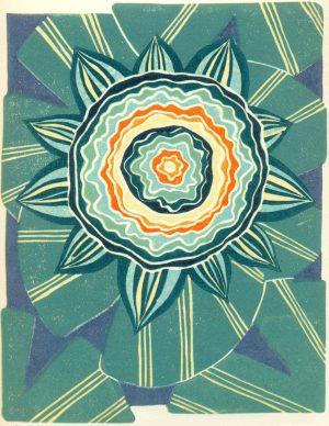 Linoleum Block Relief Print for Sale - Waterlily Mandala floral illustration