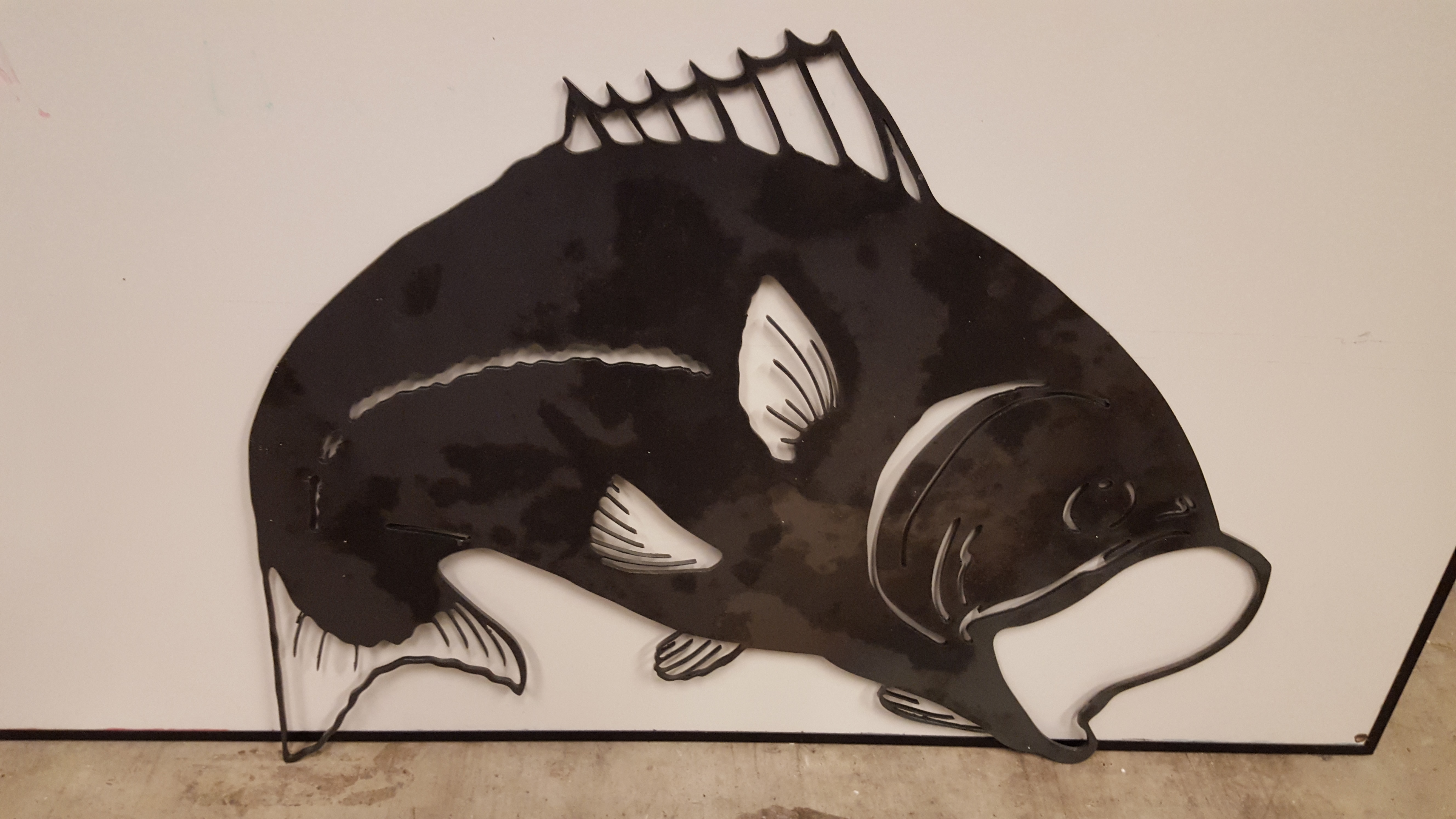 bass silhouette collar wall decor llc big product blue welding fish