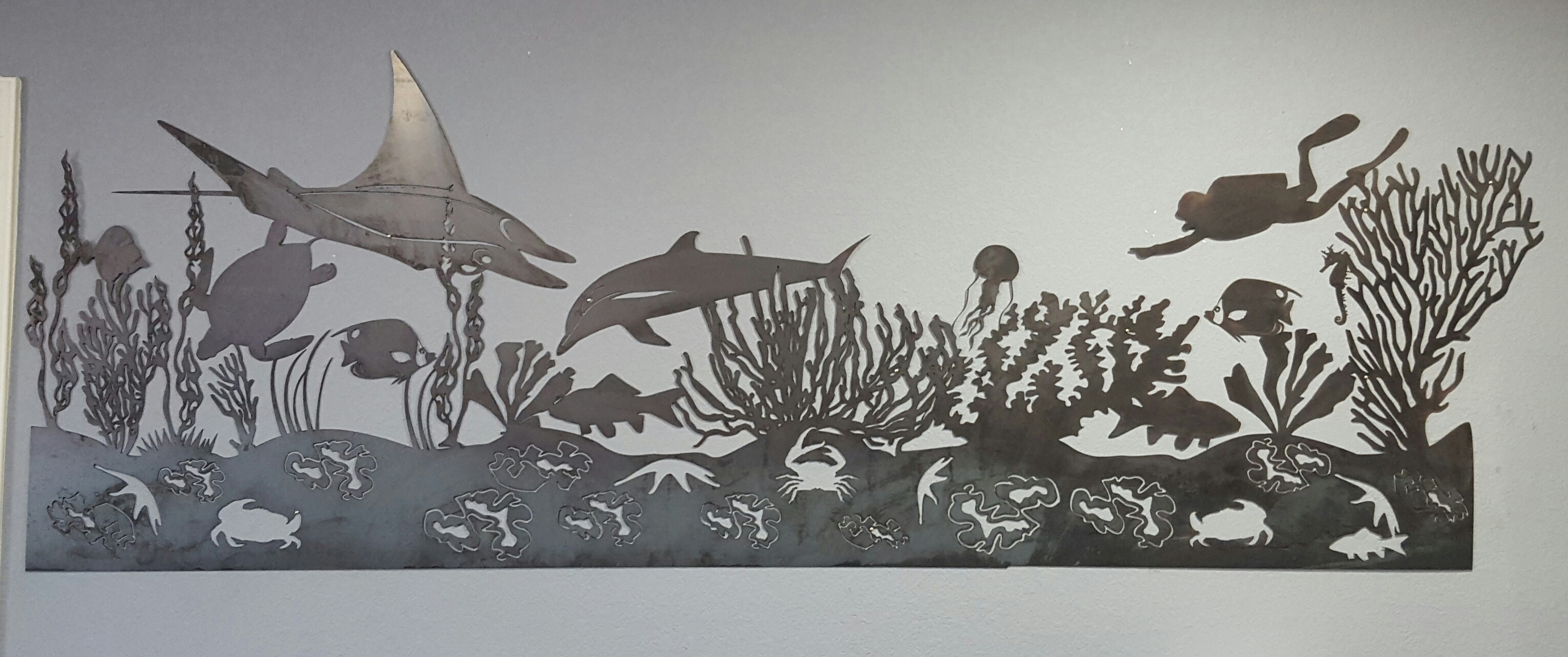 sea life mural metal wall art blue collar welding llc sea life mural metal wall art