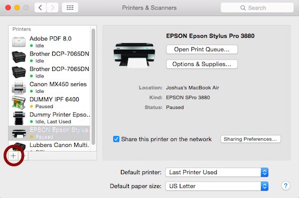 Installing OSX Print driver No printer connected |