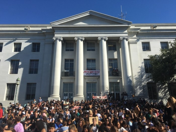 Students at UC Berkeley attend the silent sit-in on the steps of Sproul Hall. (Courtesy: V. Kirsch)