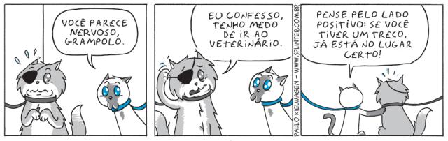 Tira em quadrinhos do Blue no pet shop / veterinário. Grampolo está com um pouco de nervosismo de ir ao veterinário, mas Blue não ajuda.