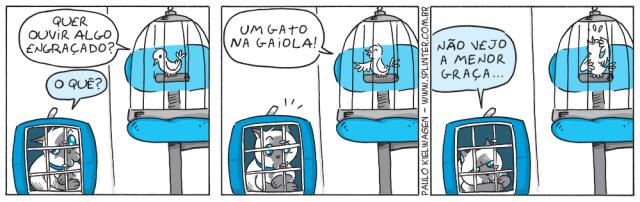 Tira em quadrinhos do Blue no pet shop / veterinário. Blue está desolado em sua caixa de transporte e um passarinho resolve fazer uma piada.