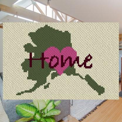 Alaska home C2C corner to corner crochet pattern