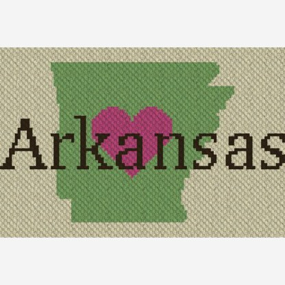 Heart Arkansas C2C Corner to Corner Crochet Pattern