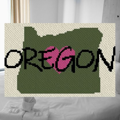 Heart Oregon C2C corner to corner Crochet Pattern
