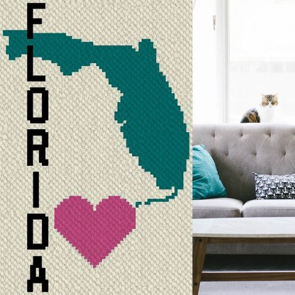 Heart Florida C2C Corner to Corner Crochet Pattern