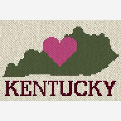 Heart Kentucky Corner to Corner C2C Crochet Pattern
