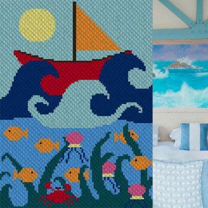 Ship at Sea C2C Corner to Corner Crochet Pattern
