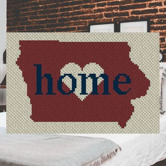 Iowa Home C2C Afghan Crochet Pattern for Corner to Corner Crochet or Graphghan