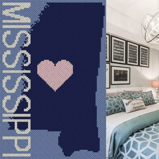 Heart Mississippi C2C Afghan Crochet Pattern for Corner to Corner Crochet Cross Stitch Graphghan