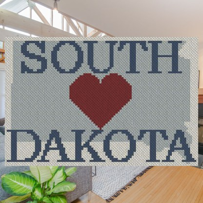 Heart South Dakota C2C Afghan Crochet Pattern Corner to Corner Blanket Cross Stitch Graphghan Blue Frog Creek
