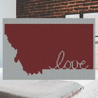 Montana Love C2C Afghan Crochet Pattern Corner to Corner Cross Stitch Graphghan Pattern