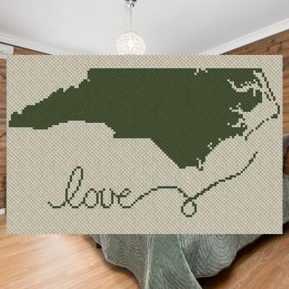 North Carolina C2C Afghan Crochet Pattern Corner to Corner Graphghan Cross Stitch Blue Frog Creek