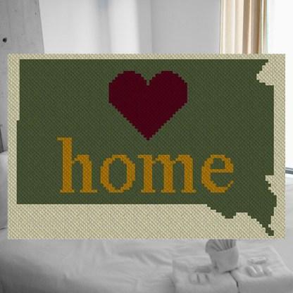 South Dakota Home C2C Afghan Crochet Pattern Corner to Corner Cross Stitch Graph Blue Frog Creek